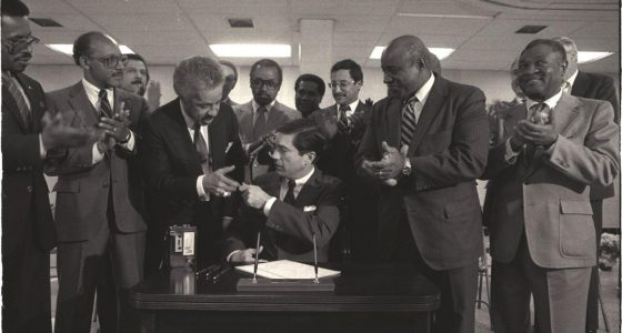 Wilder at MLK signing with Virginia Governor, Charles Robb