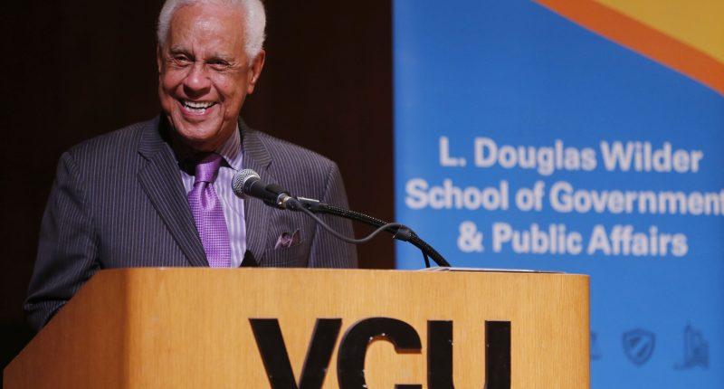 Governor Wilder at VCU podium